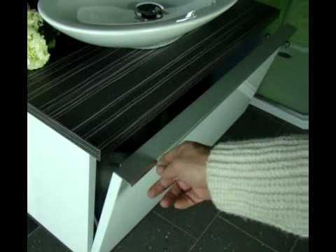 Badmöbel Gäste WC Kombination 80cm PURE, Unterschrank Keramik Waschbecken  Spiegel   YouTube