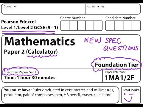 NEW SPEC (9-1) GCSE 2017 Set 1. Paper 2. FOUNDATION.CALCULATOR