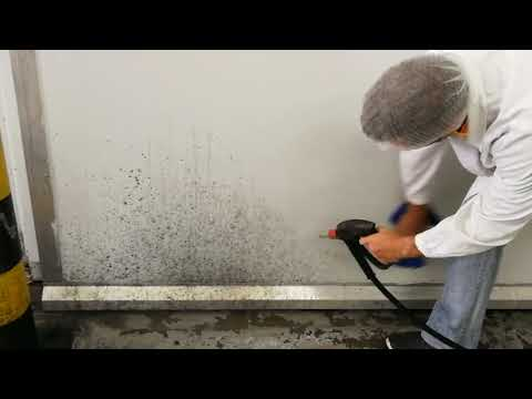Cleaning mold on the wall with a Power gun and a cloth
