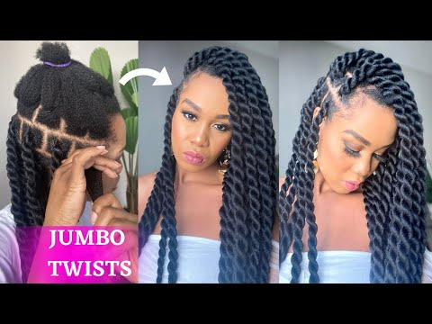 how-to:-diy-jumbo-twist-rubber-band-method-/-beginner-friendly-/-protective-style-/-tupo1
