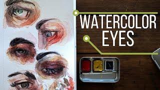 Watercolor Eye Painting - Primary Colors DIY Travel Palette