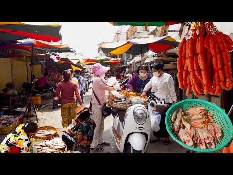 Street Food Tour - Amazing Daily Fresh Food For Sales In Cambodian Market - Phnom Penh