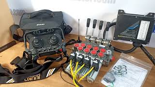 Radio remote JUUKO 24 V HS-20004PE 2 joysticks with valve HM Line 60 l/min +  valve HM Line  60l/min 16 gpm video