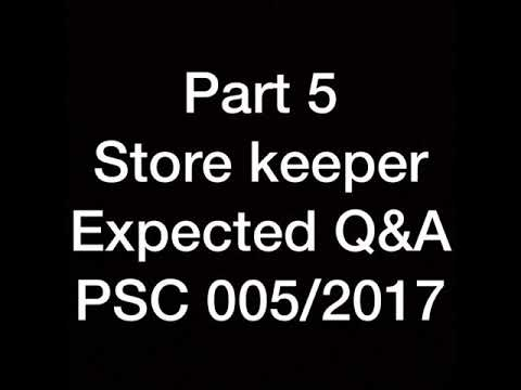 Store keeper psc expected question and answers jan 20 part 5