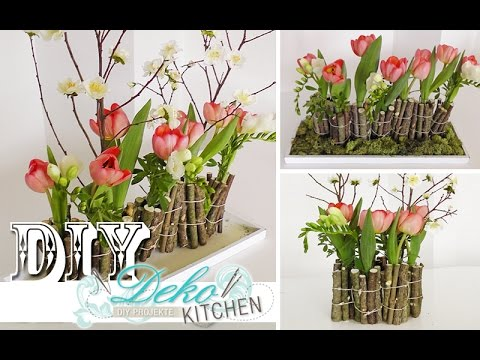 diy ausgefallene blumendeko mit holz selber machen deko kitchen youtube. Black Bedroom Furniture Sets. Home Design Ideas