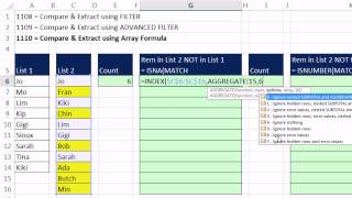 Excel Magic Trick 1110: Compare 2 Lists and Extract Records: Array Formula Method