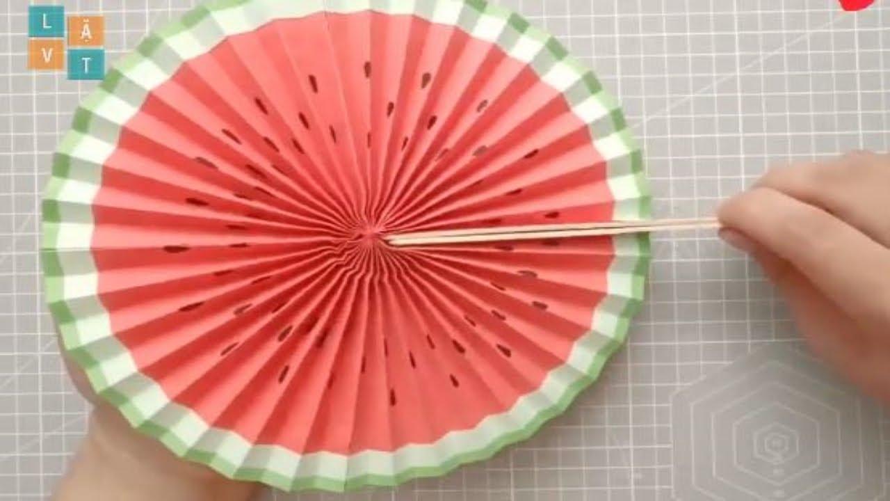 [ORIGAMI] Tập làm quạt giấy hình tròn trung hoa cực kì đơn giản | HOW TO MAKE PAPER FAN