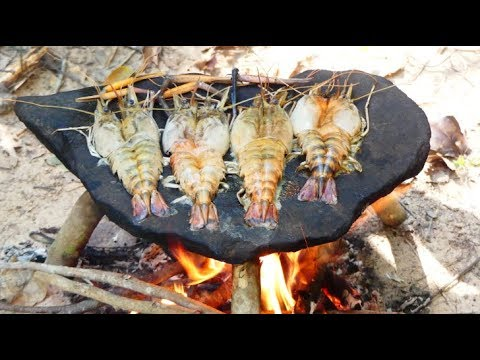 Survival Technique Cooking Shrimp on Rock - Grilled Shrimp Eating Delicious