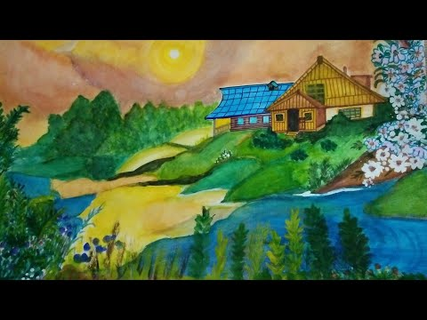 how to;water colouring painting turtorial |landscape painting with water color,,biggners painting