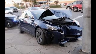 first 49000$ Tesla Model 3 totally crashed