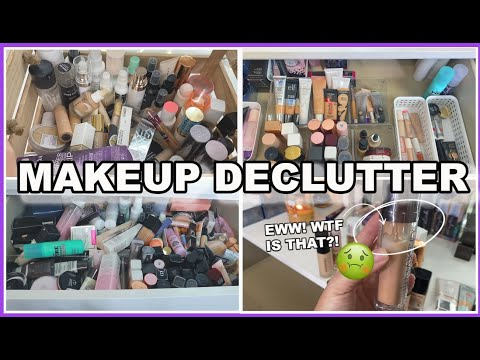 HUGE MAKEUP COLLECTION DECLUTTER    PRIMERS, FOUNDATIONS, CONCEALERS AND MORE!     SO MUCH SH*T!   
