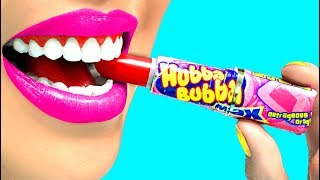 Edible Makeup A Cinderella Story using Hubba Bubba (CC Available)