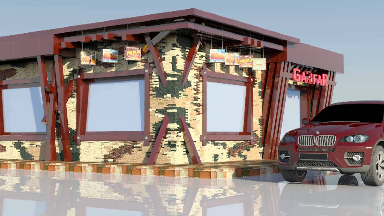 Fast food restaurant exterior youtube for Restaurant exterior design photos