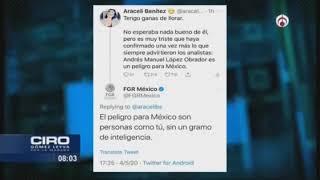 FGR agrede a tuitera que criticó a AMLO; admite error y ofrece investigación