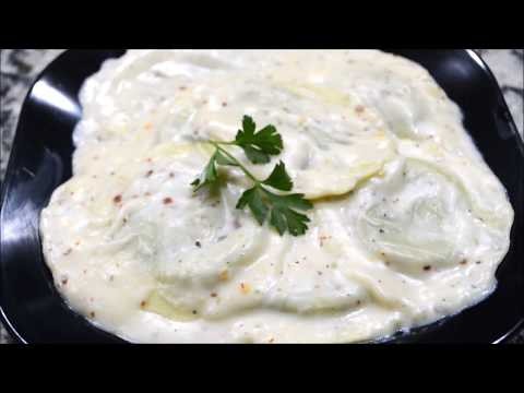 Ravioli (spinach & cheese) in white creamy sauce | Homemade Ravioli Recipe