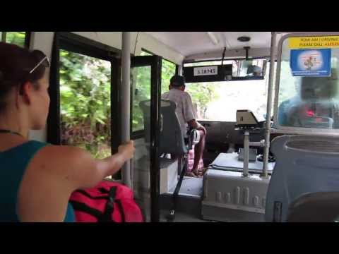 took the bus on the island Praslin, Seychelles