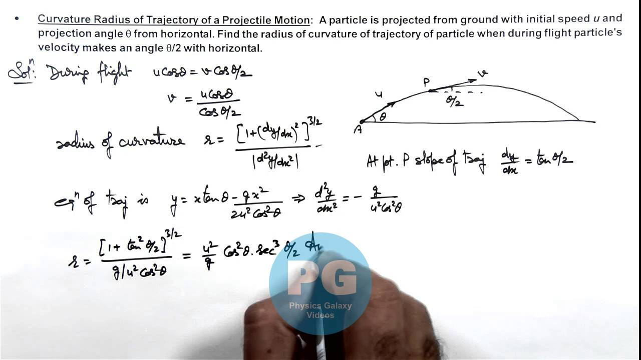 16  Physics   Circular Motion   Curvature Radius of Trajectory of a  Projectile Motion (GA)