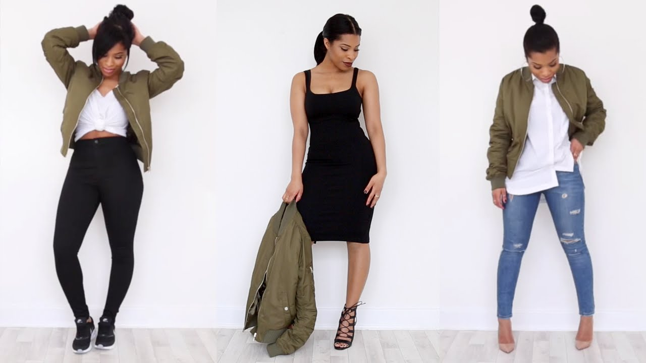 HOW I WEAR: The Khaki Bomber Jacket | LOOKBOOK - YouTube