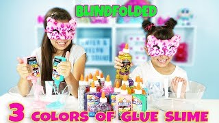 3 COLORS OF GLUE SLIME CHALLENGE Blindfolded the whole time!
