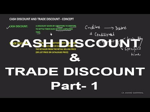 CASH DISCOUNT AND TRADE DISCOUNT | PART 1[HINDI]