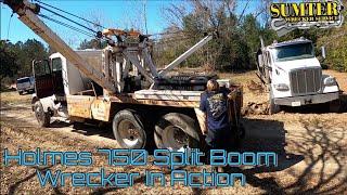 Holmes 750 Split Boom Wrecker In Action