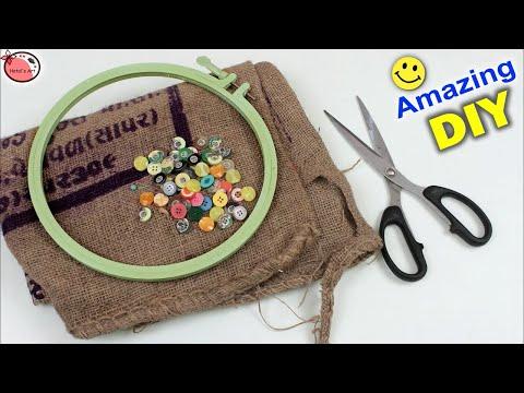 Jute Bag Reuse Craft Idea || DIY Wall Clock Making at Home || DIY Room Decor || Handmade Craft Idea