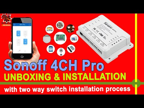 Sonoff 4CH Pro WiFi RF Smart Switch Unboxing & Installation with manaul switch.