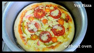Veg Pizza Recipe without oven  Veg Pizza Recipe no cooker no oven  how to make pizza without oven