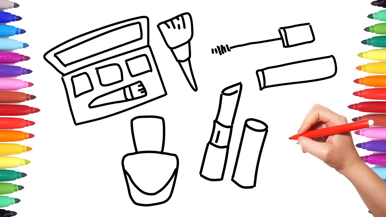 How to Draw Set Cosmetics for Girls