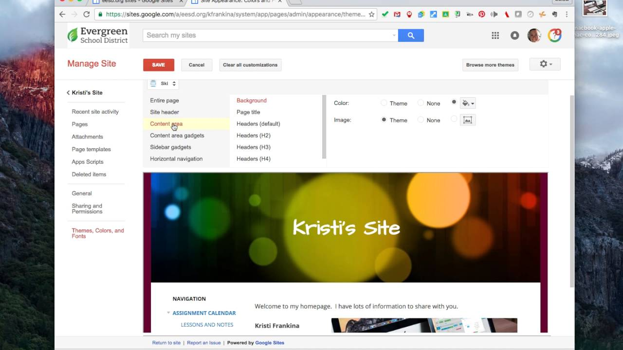 changing color and theme on google sites youtube
