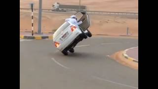 DRIVING TOYOTA COROLLA ON TWO WHEEL IN DUBAI !!! FUNNY VIDEO SCARY