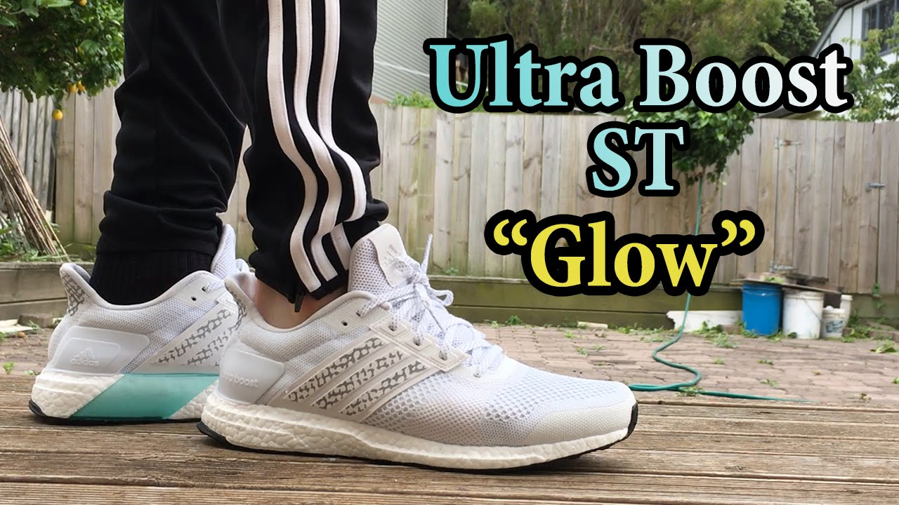 94f30847f9b59 ... order adidas ultra boost st glow white out detailed close up on feet w  different pants
