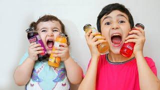 Celina and Hasouna Juice challenge - سيلينا وحسونة تحدي العصير