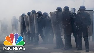 Tear Gas At Protests Against French Presidential Candidates   NBC News