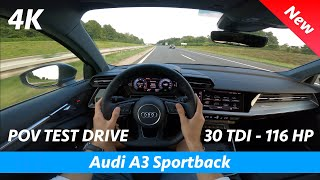 Audi A3 Sportback 2020 - POV test drive in 4K   30 TDI - 116 HP, Acceleration 0 - 100 km/h