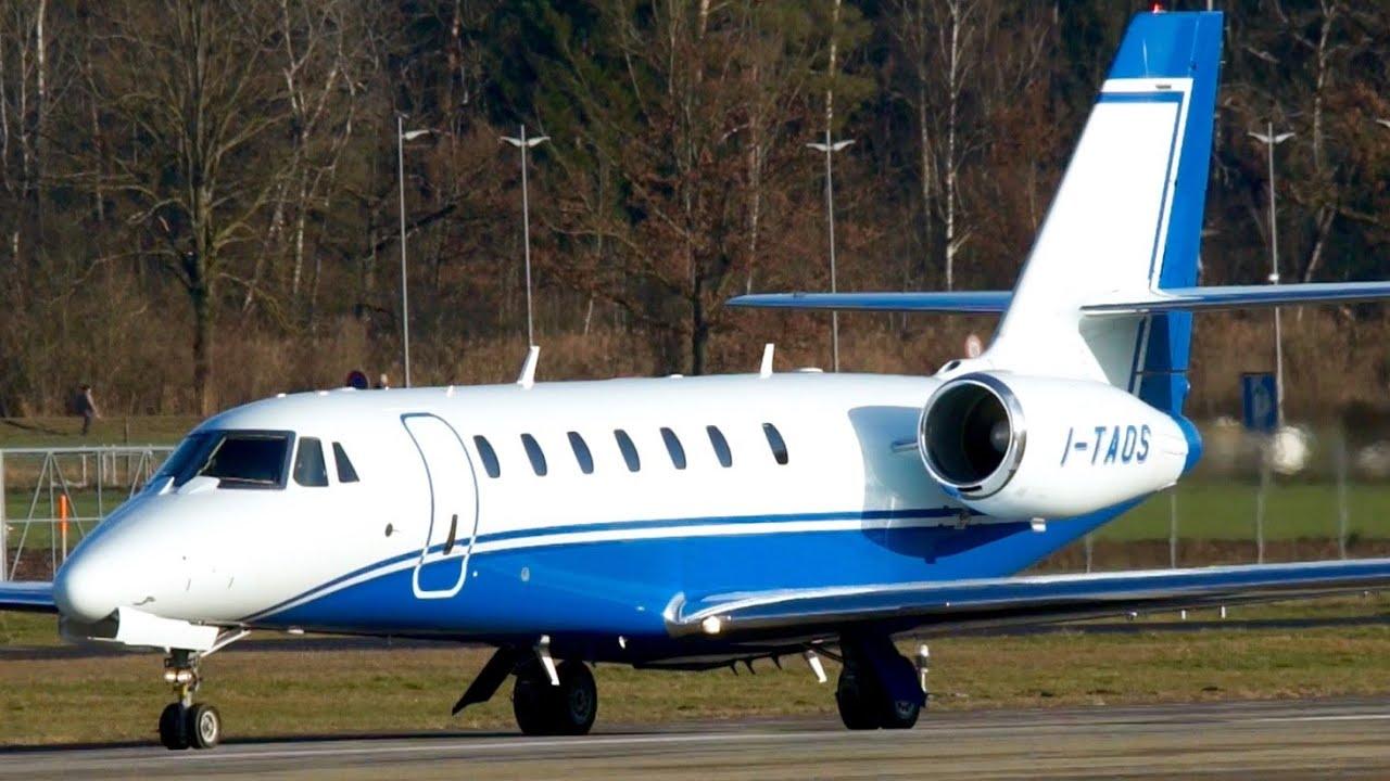 Cessna 680 Citation Sovereign I-TAOS Take-Off at Bern - YouTube