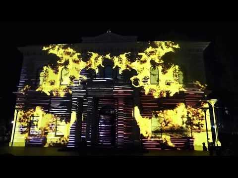 Australian Aboriginal Video projection in Adelaide, South Australia
