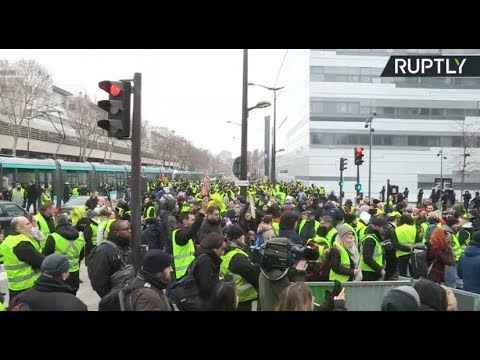 Yellow Vest protests held in Paris for 7th week in row (streamed live)