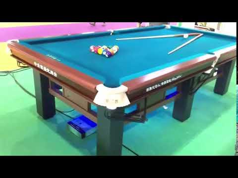 Solid wood billiard table w/top slate