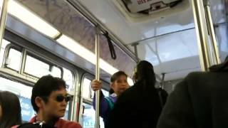 Fight on SF Muni Bus in Chinatown   HIGH QUALITY O