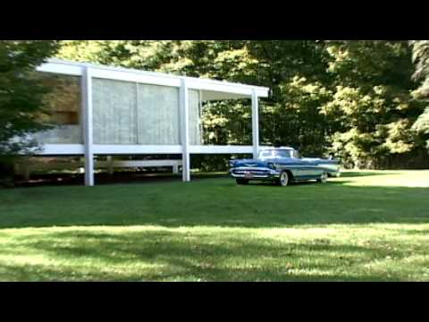 We ride in a 1957 Chevy Belair convertible to the Farnsworth House