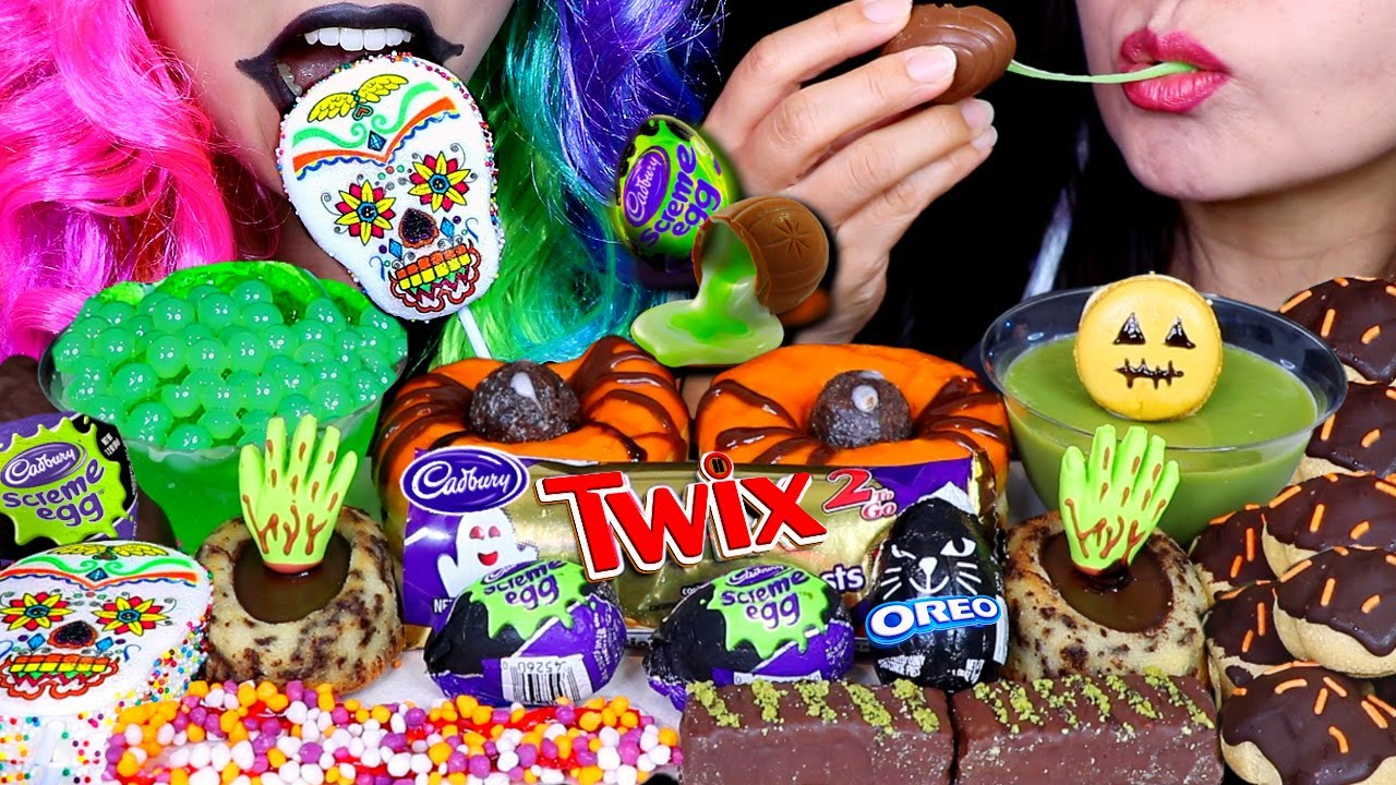 ASMR HALLOWEEN CANDY PARTY! TWIX, OREO EGG, CADBURY, SPIDER DONUT, POPPING BOBA, CAKE, MARSHMALLOW먹방