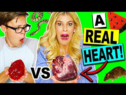 Thumbnail: REAL FOOD VS GUMMY FOOD CHALLENGE! (*EATING A REAL HEART!*)