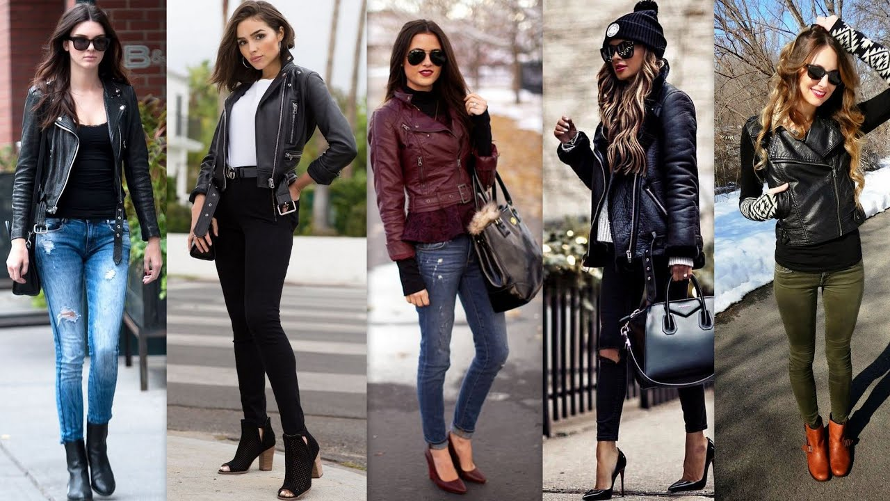 [VIDEO] - How to style in Leather jacket ll outfit ideas 2019 ll  Outfits Women Winter Leather Jacket Ideas ll 2