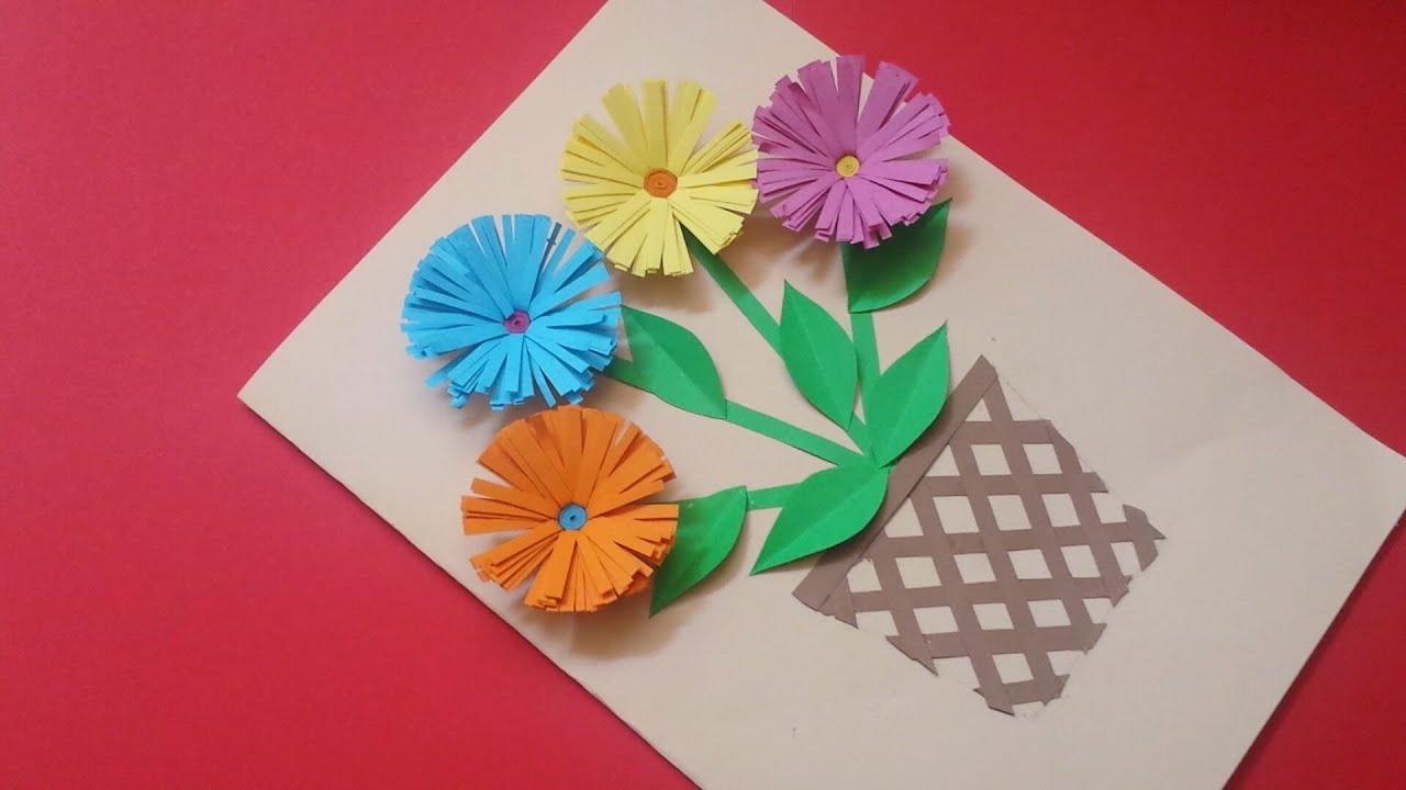 diy easy handmade card  beautiful paper flower card  youtube