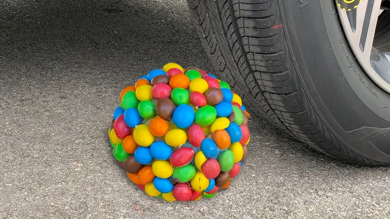 Experiment Car vs M&M Candy, Skittles, Watermelon | Crushing Crunchy & Soft Things by Car | Test Ex