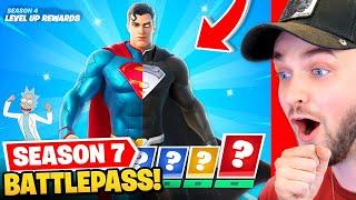 *NEW* SEASON 7 BATTLEPASS in Fortnite! (Superman, Ricky + Morty + MORE)