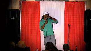 Jessie Taylor performing at Innovative Ent. One Mic Comedy Show