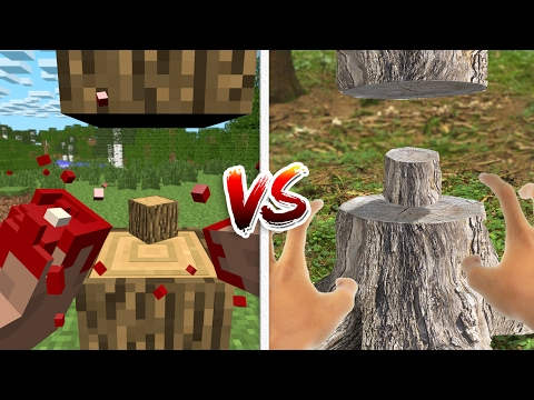 Thumbnail: Minecraft vs Real Life: How to Cut Trees! (Minecraft Animation)