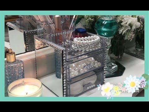 ~DIY~ Dollar Tree Glam Makeup Organizer ~ Trinket Box